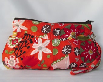Clearance Wristlet Bag, Zippered Wallet, wristlet clutch Kaori Floral On Sale