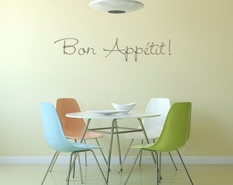 Bon Appetit ! Wall Decal / Dining Room Decor / Wall Sticker