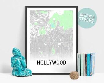 Hollywood Map Print, California, USA, City Map, City Map Print, Travel Map, Map Art, Map Poster, Wall Art, Home Decor, Modern, Minimalist
