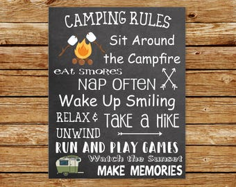 Camping Rules Printable | Camping Rules Print Wall Art | Camping Decor | Glamping Printable | Glamping Decor | Camper Decor | Camper Rules