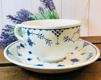 Vintage Breakfast Tea Cup And Saucer In Denmark Blue By Mason's Made In England - Blue and White Floral