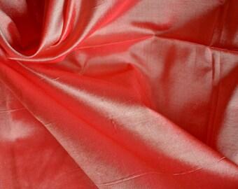 Fine Indian Silk Taffeta in  Red and cream -  fat quarter -TF 87