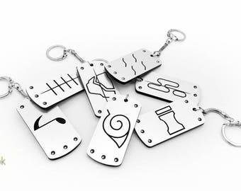 Naruto Hidden Village Reversible Lasercut Keychains