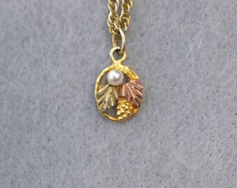 12KT Black Hills Gold Pendant Necklace Vintage