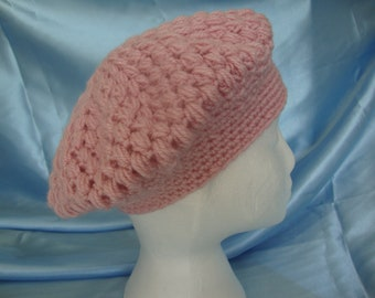 Beret - Tam - Hat - Crocheted Beret - Crocheted Hat - Crocheted Tam - Dusky Pink - Ready to ship