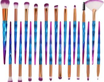20 Piece Metallic Blue, Purple and Pink Makeup Eyeshadow Brush Set Style 017