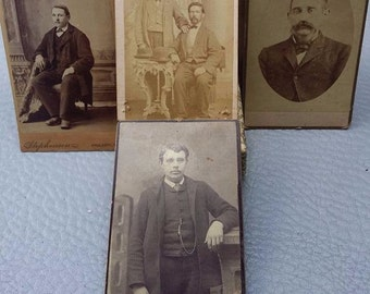 Antique sepia 4 photographs of gentleman's