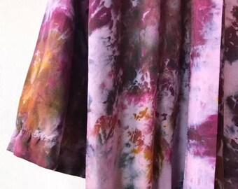 Hand Dyed Kimono Robe in Smokey Topaz , Purple and Ocher Tie Dyed Rayon Bathrobe, Anna Joyce, Portland, OR.