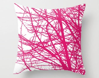 Pink Tree Branches Pillow Cover // Fuchsia Magenta Pink  Pillow // Modern Home Decor // includes insert