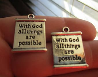 Set of 2 Charms With God all things are possible
