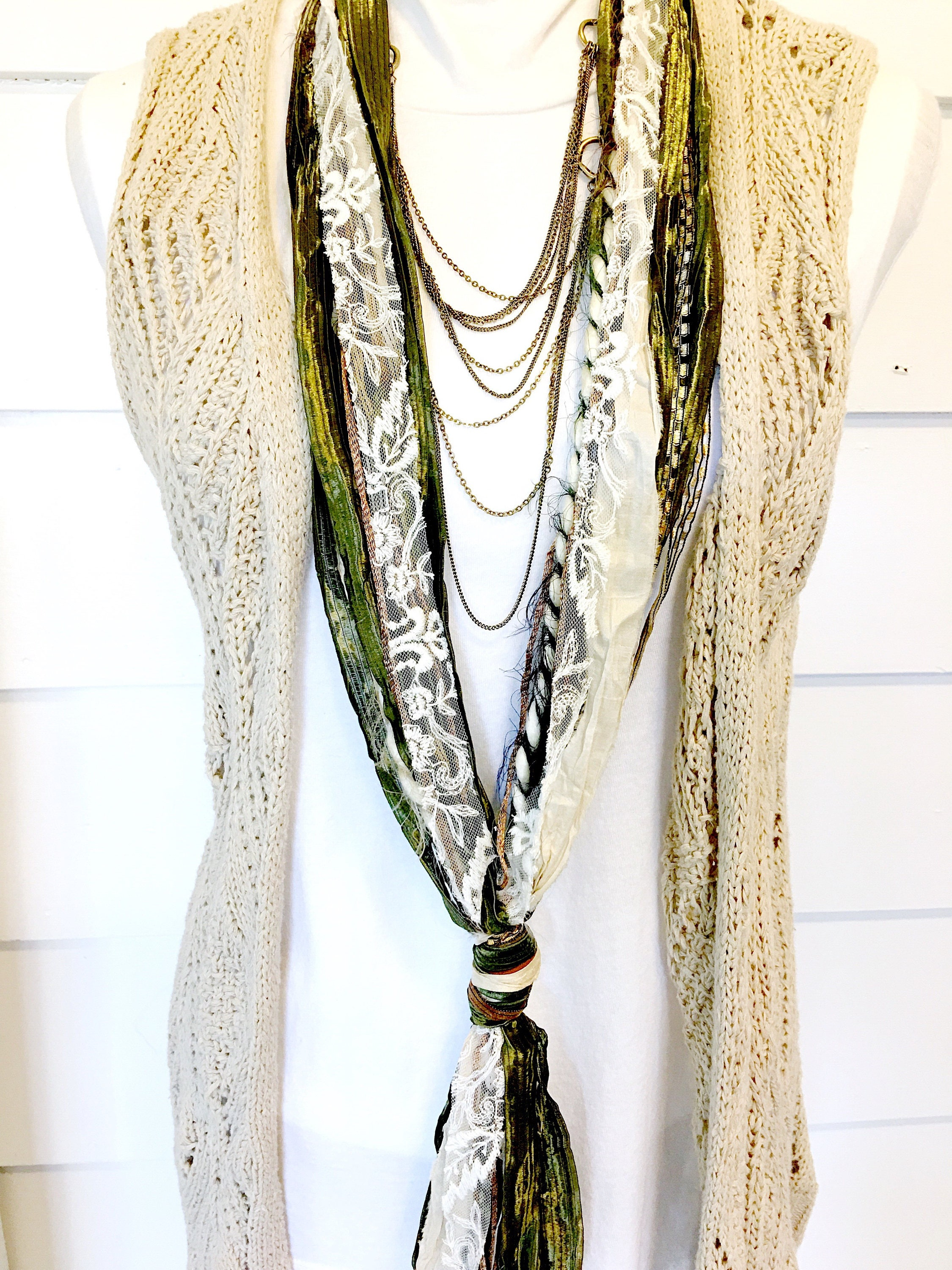 bugles multi threads bugels textile necklace fiber recycled products beyond