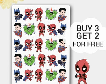 Funny Chibi Superhero Stickers