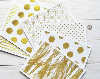 Gold & White Note Cards // Set of 4 // Blank Cards // Thank You Notes // Thinking of You Card // Gold Foil // Metallic Finish