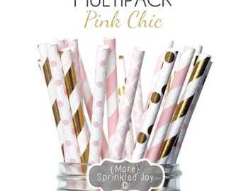 PINK & GOLD Paper Straws, Multipack, Pink, Blush, Gold, Light Pink, Wedding, Damask, Dots, Pink Chic, Gold foil, Stripes, Shower, Party