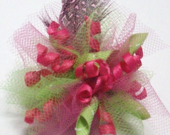 Dog Hair Bow - Feather Fascinator - Pink - Wedding - Top Knot - French Clip - Alligator Clip