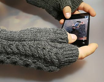 Mens Fingerless Gloves Mens Fingerless Mits Knitted Mens Gloves Wool Gloves for Men Knitted Fingerless Mens Arm Warmers Mens Grey Knit Glove