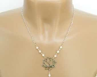 Necklaces for Women Statement Necklace Gift for Her Pearl Necklace Gift for Women Flower Necklace Sterling Silver Handmade Jewelry