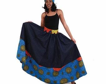 African Print and kente skirt