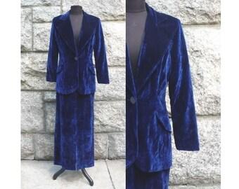 1970s Royal Blue Velveteen Skirt Suit