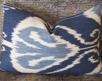 SALE Designer Pillow Cover - 12 x 16, 12 x 18, 12 x 20, 10 x 20 - Bansuri Ikat Iris -