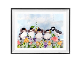 Bird Artwork Watercolor Mini Prints for Nursery Room Watercolour painting of Baby birds Chickadee family Child playroom Nature wall decor