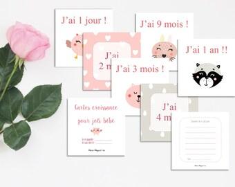 Cartes rose pour bébé - Cartes de croissance - Noter l'année de bébé - Cartes repères - Pour la 1ère année de bébé - Cartes croissance fille