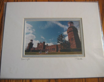 """TWIN LIGHTS Lighthouse portrait Hand Signed by Artist 8"""" by 10"""" Double Matted Tom McGuire"""