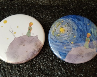 Little Prince with background option - pinback button 1.25 or 2.25""