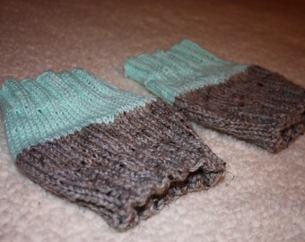 Gray Marble/Pastel Blue Reversible Women's Knit Boot Cuffs