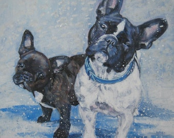 FRENCH BULLDOG art portrait canvas PRINT of LAShepard painting frenchie dog 12x12""