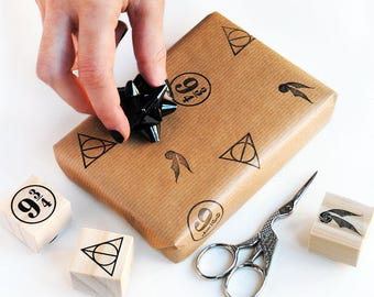 wrapping paper DIY for geek birthday decorations, magic theme birthday, deathly hallows stamp, platform 9 3/4, rubber stamp DIY kit, magical