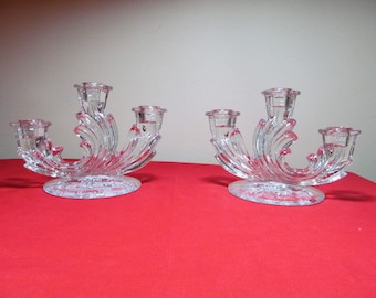 Fostoria Etched Glass Chintz Pair of Three Lite Candleholders