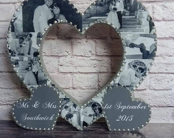 "10"" Personalised Wooden Photo Collage Heart Birthday, Anniversary, Wedding Gift Present"