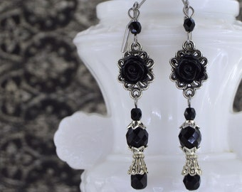Gothic Earrings | La Rose Petite | Small Earrings, Dangle Earrings, Gothic Victorian, Victorian Earrings, Black rose, Rose Earrings