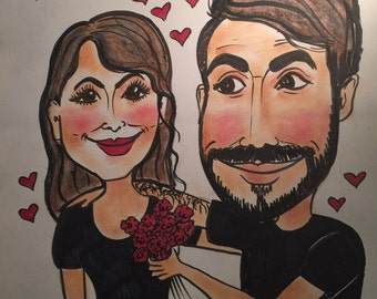 Valentines 2 person custom color caricature 11x14  caricature,portrait,cartoon family portrait ,sketch,funny faces,color caricature,drawing