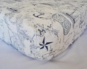 Vintage Nautical Map - Sailboats - Fitted Crib/Toddler SheetDiaper Changing Pad Cover