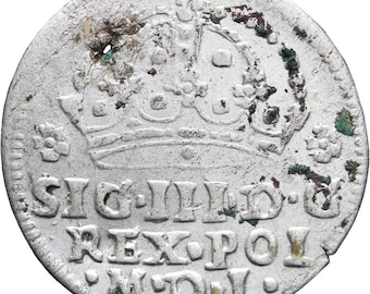 1608 Grosz Sigismund III Groschen Polish–Lithuanian Commonwealth Silver Coin Mint Krakow
