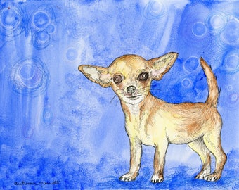 Chihuahua! (original watercolor and ink painting)