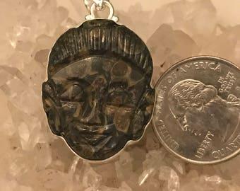 Beautiful Turtella Carved Buddha Face Pendant Necklace