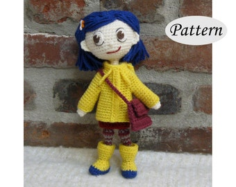 CORALINE - Amigurumi Pattern Crochet Doll Pattern - Photo Tutorial - PDF - Plush Doll Girl
