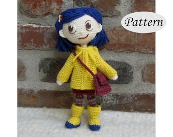 CORALINE - Amigurumi Pattern Crochet Doll Pattern - Photo Tutorial - PDF - Plush Doll Girl