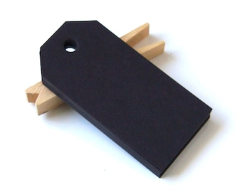 "20 Classic Cut Small Craft Tags in BLACK . 1.625"" x 3.25"""