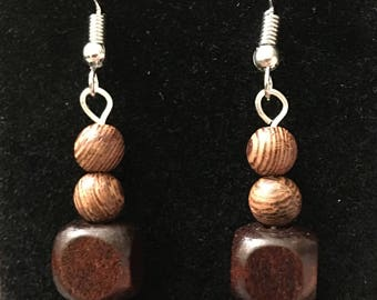 Wood Bead and Silver Dangle Earrings - Handmade Dangle Earrings - Beaded Earrings