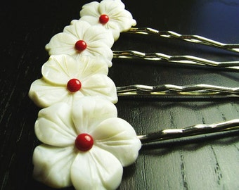 Crimson Cream Mother of Pearl and Coral Flower Bobby Pins -- set of 4 for Bridesmaids