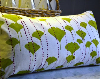 """Lumbar Pillow Cover in Hand Printed Hemp/Cotton Fabric """"Ginkgo in Lime and Fuchsia"""""""