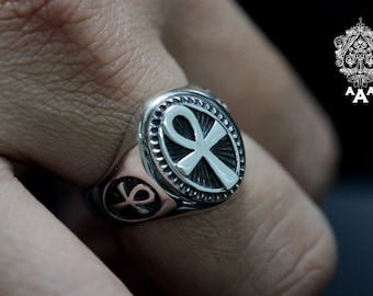 Ankh ring,Egyptian Ankh Ring,Sterling Silver 925 Black oxidize.