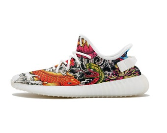 Koi Fish x Japanese Demons Custom Made Sole Style 350V2 Style Boost Yeezy  Versace Inspired Gucci