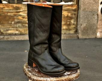 Stivali pelle cowboy camperos neri FRYE Cavalry 12R made in Usa