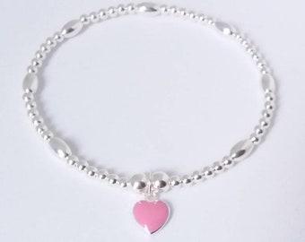 Sterling Silver Stretch Bracelet, Silver heart Bracelet,Stretch Bracelet,stacking bracelet, silver bead bracelet,gift for her,pink gift