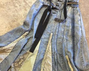 Repurposed denim skirt